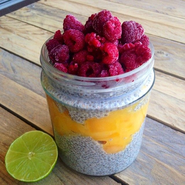 Raspberry Mango Chia Seed Pudding made with H2COCO Coconut Water ! Delicious! Recipe at @achieving_balance Instagram