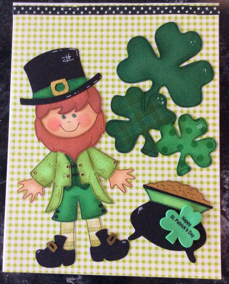 Entered in simonsaysstampblog.com Wednesday A Bit of Green Challenge. Image cut on Cricut. Used stamps to add designs to his clothes and the shamrocks. Used Distress inks, Pitt Pens and white gel pen. Added a foamie shamrock that had text. Rub on used across top. This is an 8-1/2 x 11 card front that I made for my 98 yr. old grandma. I wrote her a letter and stapled the card to it. The rub on hides the staples.