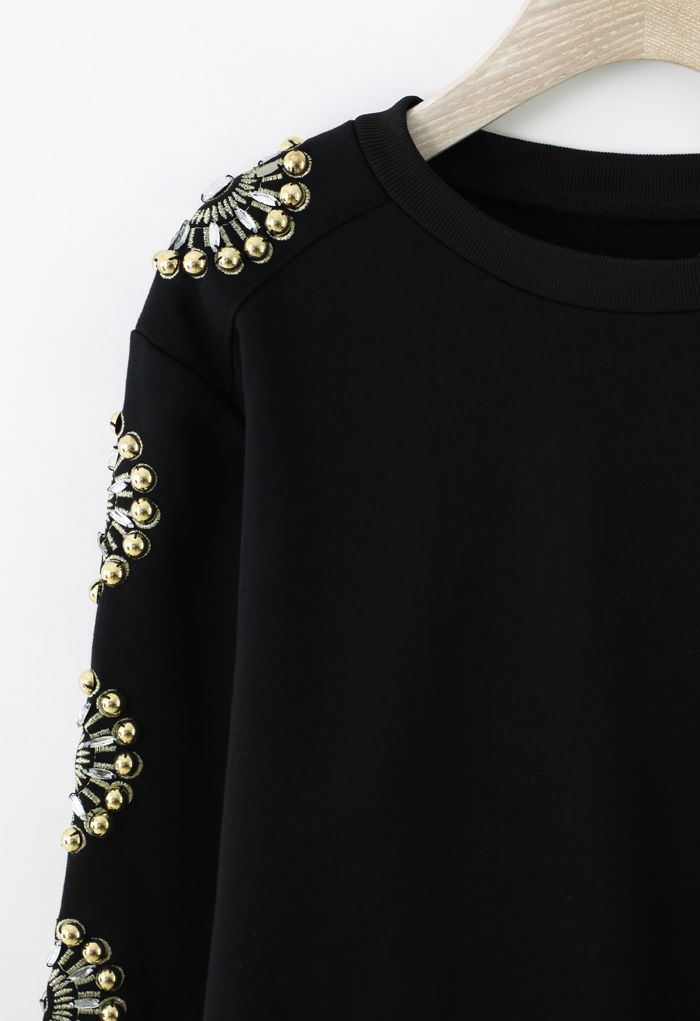 Floral Crystal Embellished Sleeves Sweat Top - Sweaters - Tops - Retro, Indie and Unique Fashion