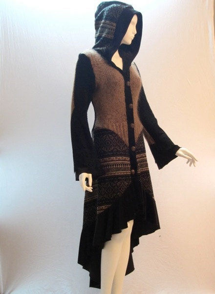 Recycled Sweater Coat in Gold Brown Black & Patterned by ipseity,