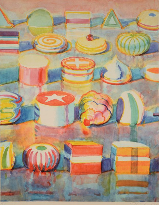 """WAYNE THIEBAUD (Californian b. 1920) """"Colorful Cakes"""" Color lithograp #michaans #fineart #auctions #thiebaud http://www.michaans.com/highlights/2016/highlights_12092016.php"""