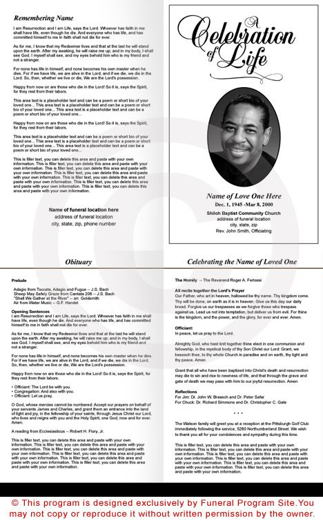 Classic Funeral Program Template   Memorial Service Bulletin Templates