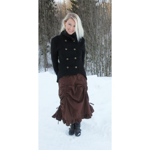 Tailored uniform inspired wool jacket, with great details and 18 metal buttons. It is short in front and longer behind with a split.