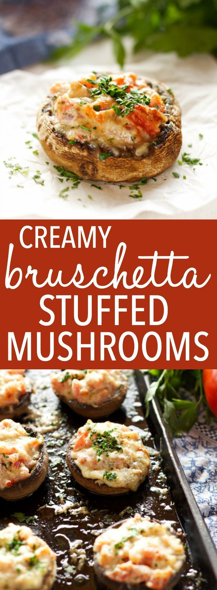 These Creamy Bruschetta Stuffed Mushrooms are the perfect easy appetizer packed with fresh tomatoes and herbs, and 3 delicious cheeses! Recipe by thebusybaker.ca! via @busybakerblog #easyholidayappetizer #holidaystuffedmushrooms #easystuffedmushrooms #italianappetizer