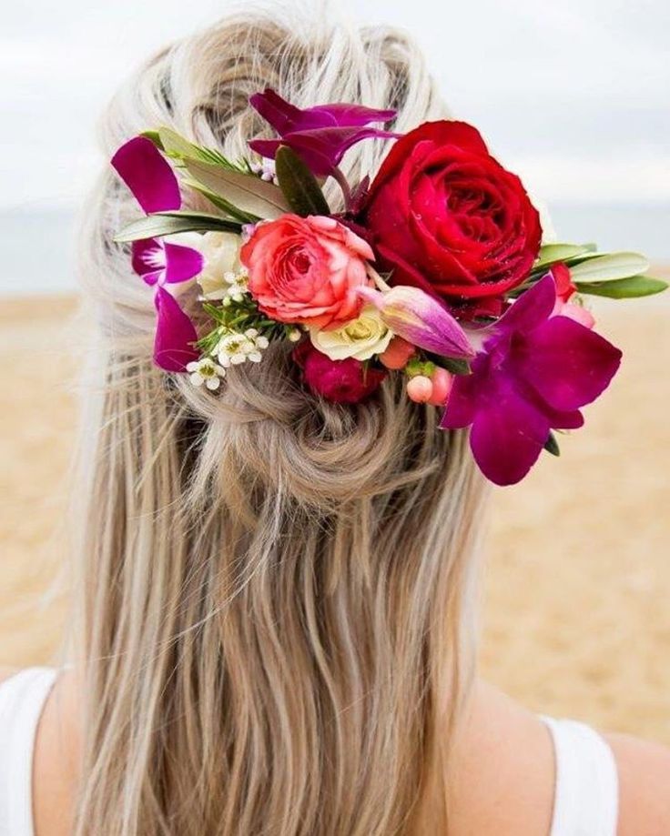 Bright flower hairpiece, perfect for a half-updo by Hunting Blooms