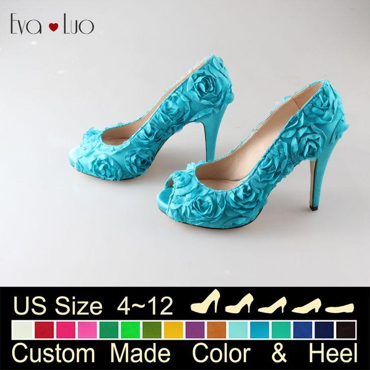 Pas cher Chs526 beaucoup de couleurs Custom Made Rose fleur dentelle Turquoise chaussures de mariage femmes chaussures à talons hauts chaussures de soirée, Acheter  Ballerines pour femmes de qualité directement des fournisseurs de Chine:          Vous pouvez me contacter sur  Whatsapp      : + 86 15960205016                      #            N