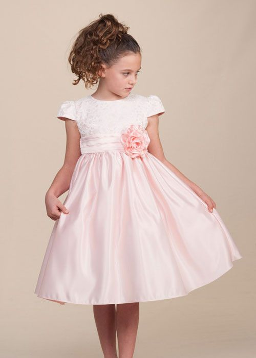 Pink Lace Dress with Satin skirt and Hand-rolled Rosette