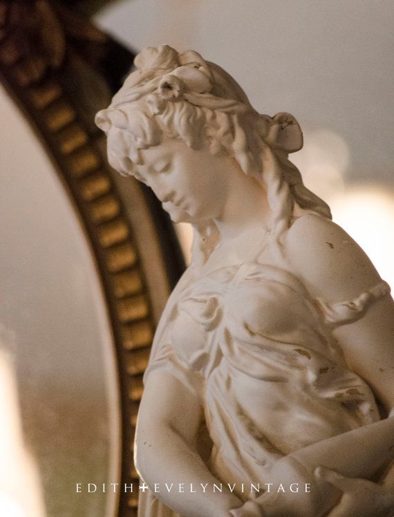 Vintage French Lady with Urn Statue Marwal White by edithandevelyn