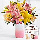 Royal Easter Lilies with Pink Mason Jar & Chocolates