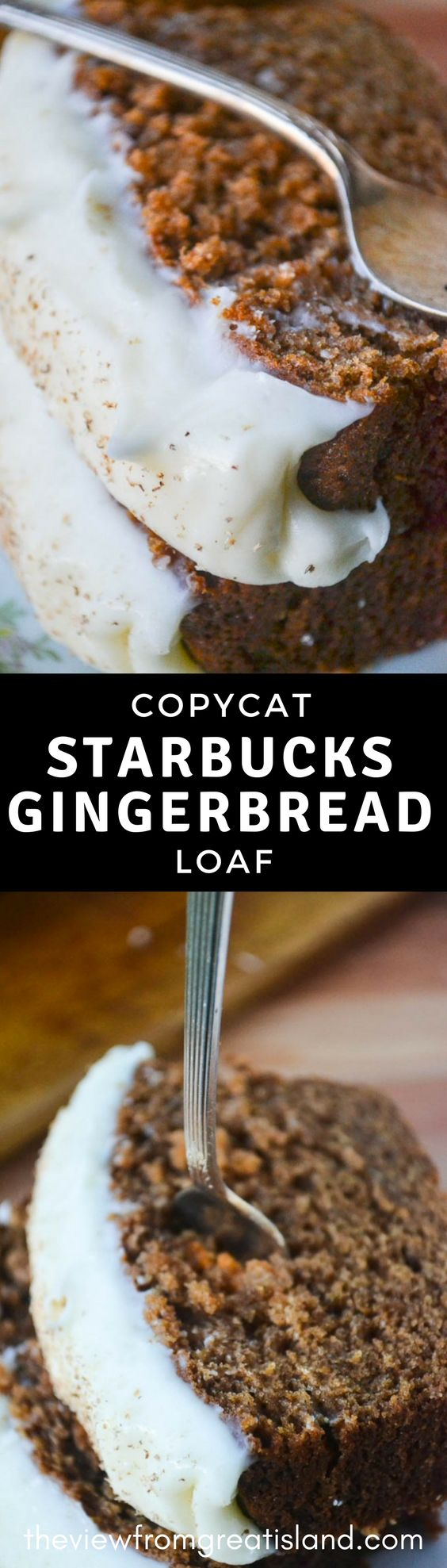 Copycat Starbucks Gingerbread ~ skip the trip to the pricey coffee shop and make your own moist and perfectly spiced frosted gingerbread. #copycatrecipe #starbuckscopycat #holidaydessert #cake #quickbread #spicecake #breakfast #ginger #holidaybreakfast #foodgift