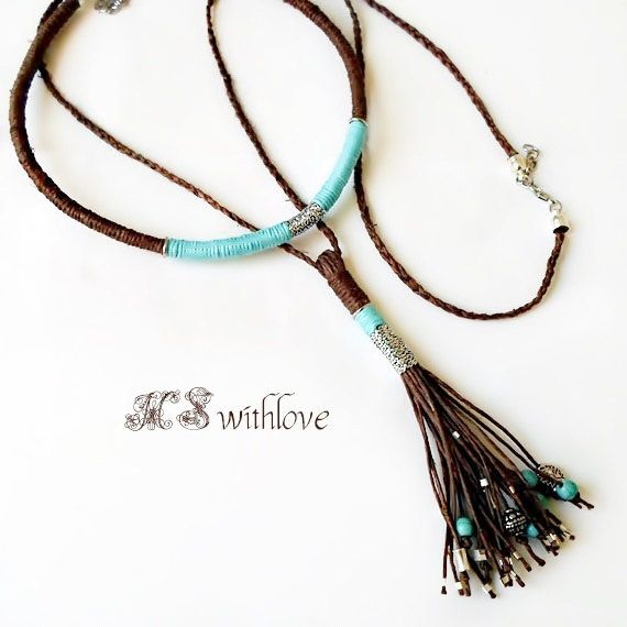 Boho Rope Tassel Necklace, Charm layered Necklace, Hemp cord Statement Necklace, Two pieces Bohemian Rope Jewelry, Boho Necklace