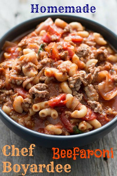 Simple and delicious recipe for homemade Chef Boyardee Beefaroni. Ground beef, pasta, tomatoes, and cheese make this hearty Italian comfort food!