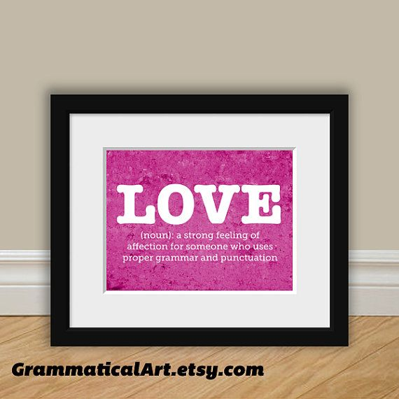 Love Grammar Funny Definition Print Gift Teacher by GrammaticalArt