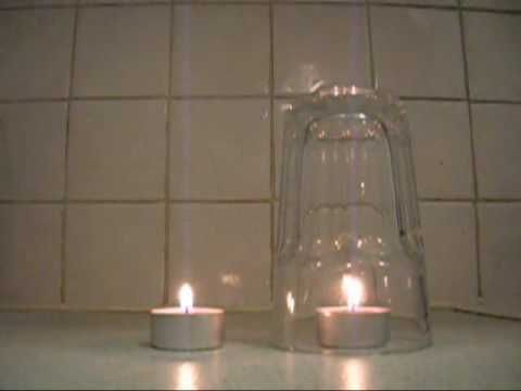 Light a candle and cover it with a glass jar. What happens as the oxygen inside runs out?