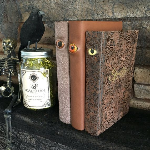 spooky halloween decor eyeball spell book by craftmenagerieca - Spooky Halloween Decor