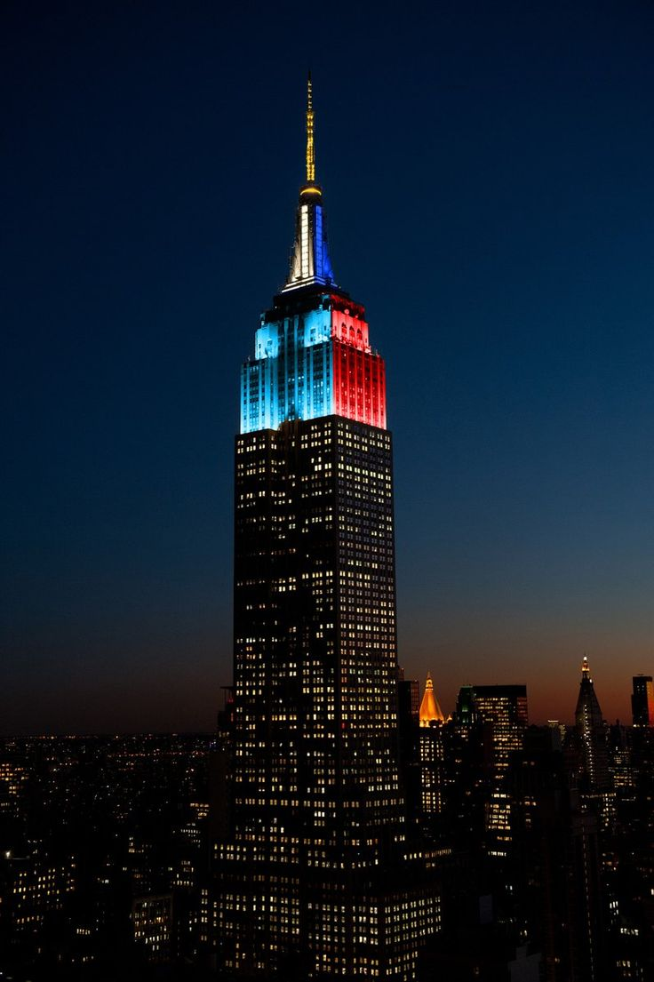 "Empire State Bldg en Twitter: ""We're split in light blue, white & gold for Argentina and red & dark blue for Chile for the final match of #COPA100! https://t.co/dSpYakNnhq"""
