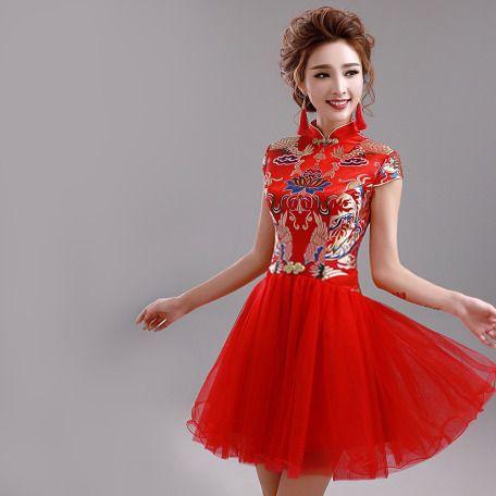 Red brocade mandarin collar cap sleeve Chinese bridal wedding A-line dress 001