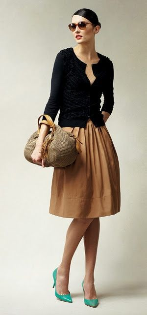 I love the vintage vibe, classic lines neutral tones and bright teal pumps. I think this is a great office look for early Spring. For the office, however, I would wear a cami or blouse underneath the cardi.