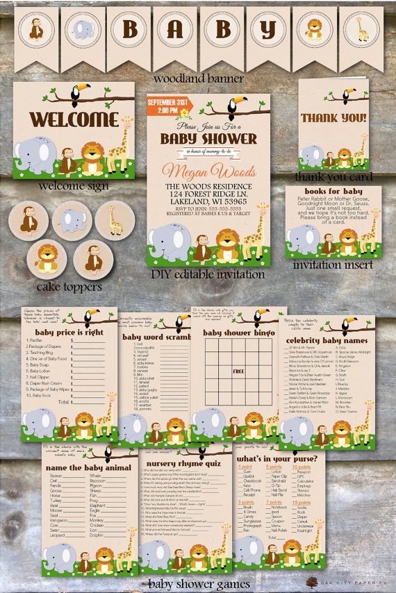 Safari Baby Shower Party Package  Jungle Animal Baby Shower