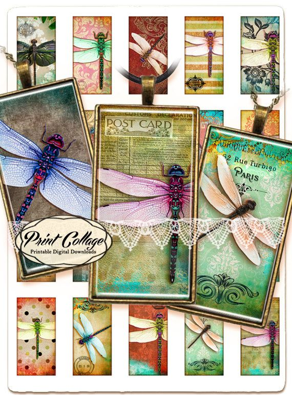 Dragonfly Digital Collage Sheet 1x2 inch Printable for glass