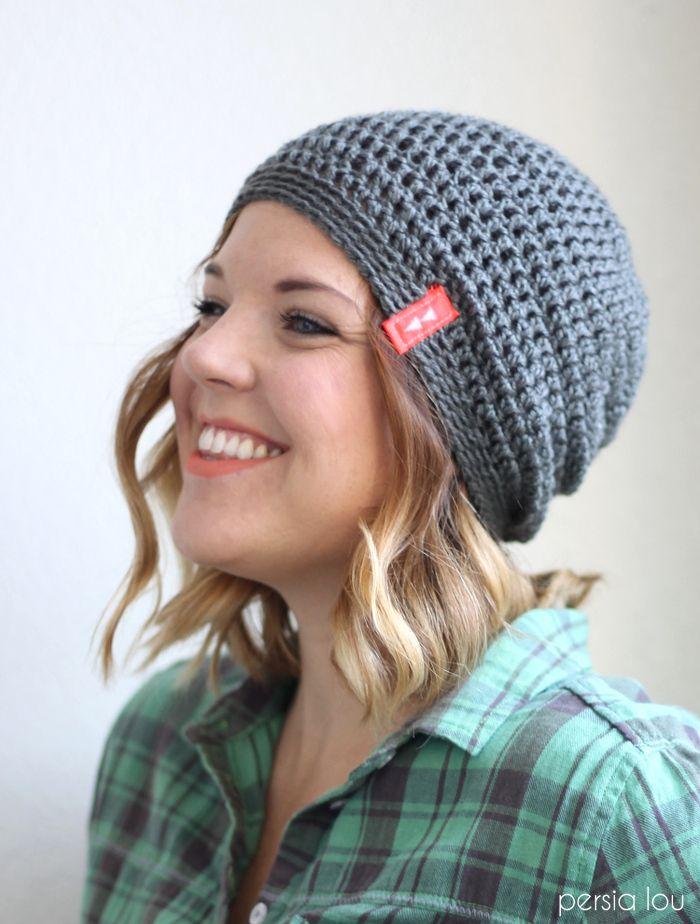 Simple Slouch Crochet Hat - a great free beginner pattern