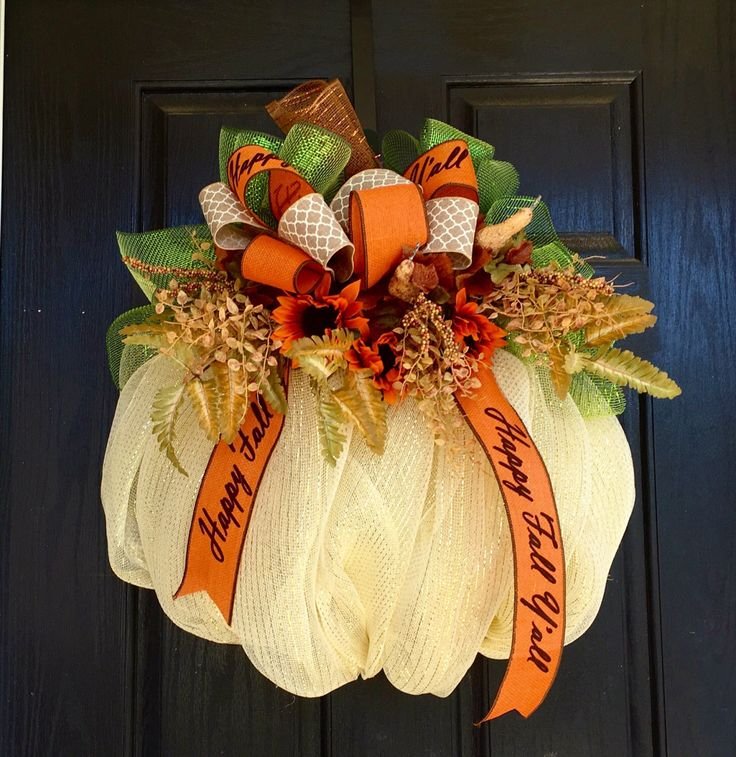 A personal favorite from my Etsy shop https://www.etsy.com/listing/468863526/deco-mesh-pumpkin-pumpkin-mesh-wreath