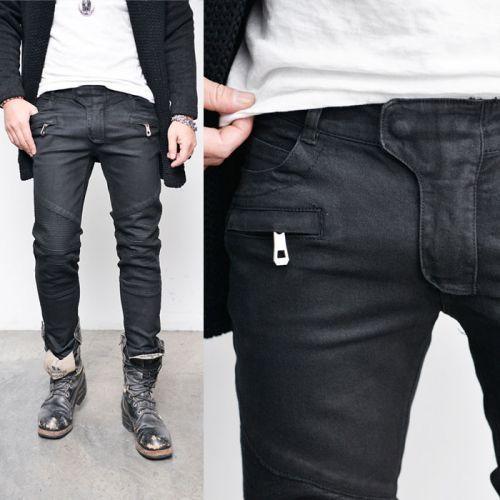 Coated Black Seaming Skinny Biker-Jeans 266 via SNEAKERJEANS STREETWEAR SHOP