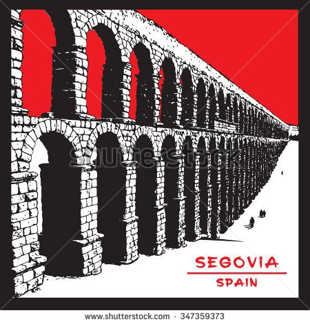 Roman aqueduct of Segovia. Architecture of Spain. Red, black and white image.  Vector illustration in engraving style.