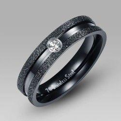 Simple Black Titanium Steel Men's Wedding Band Wedding Ring with Crystal