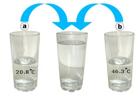 Thermal Equilibrium: the heat gain by the cool water is equal to the heat loss by the warm water; final temperature = Mass1 x specific heat of water x (T-T1) = -Mass2 x specific heat of water x (T-T2): Solve for T