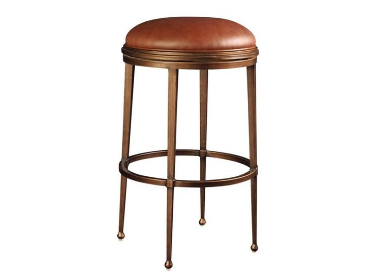 appealing mid century round backless counter stool brown leather seat and iron tapered