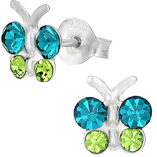 Sterling Silver Hypoallergenic Teal  Green Crystal Butterfly Stud Earrings for Girls Nickel Free *** Visit the image link more details.