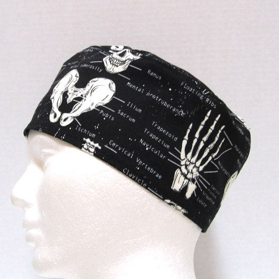 A mens scrub hat, surgical cap or doctors skull cap with a great anatomical Skeleton print with the bones named. Perfect for an orthopedic surgeon.