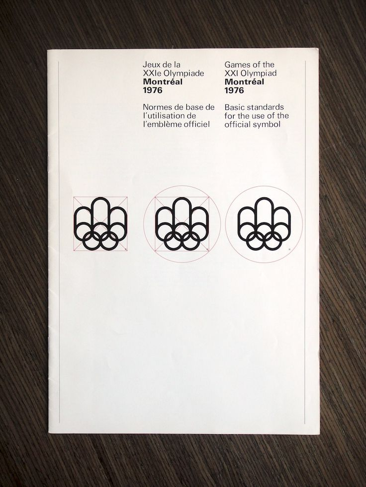 1976 Montréal Olympics Basic Logo Standards. Designed by Georges Huel and Pierre-Yves Pelletier