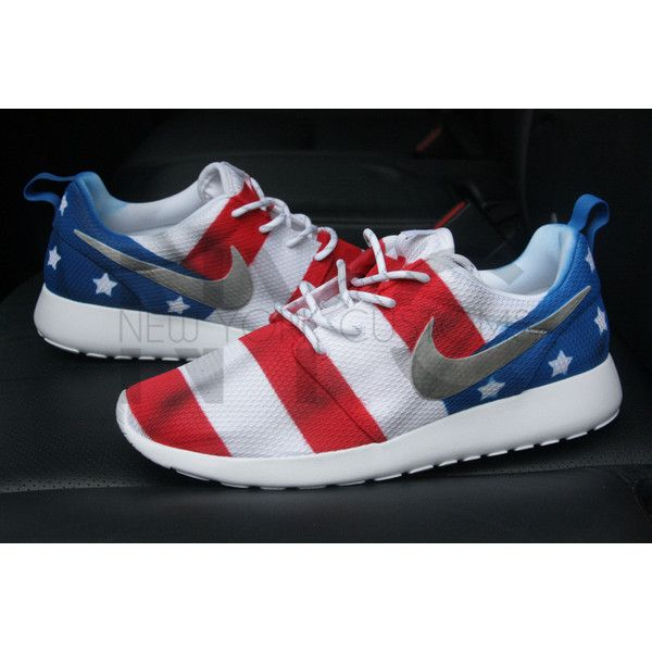 American Flag Silver Medal Nike Roshe Run White Custom ($225) ❤ liked on Polyvore featuring shoes, athletic shoes, grey, sneakers & athletic shoes, tie sneakers, unisex adult shoes, gray shoes, white shoes, grey shoes and white athletic shoes