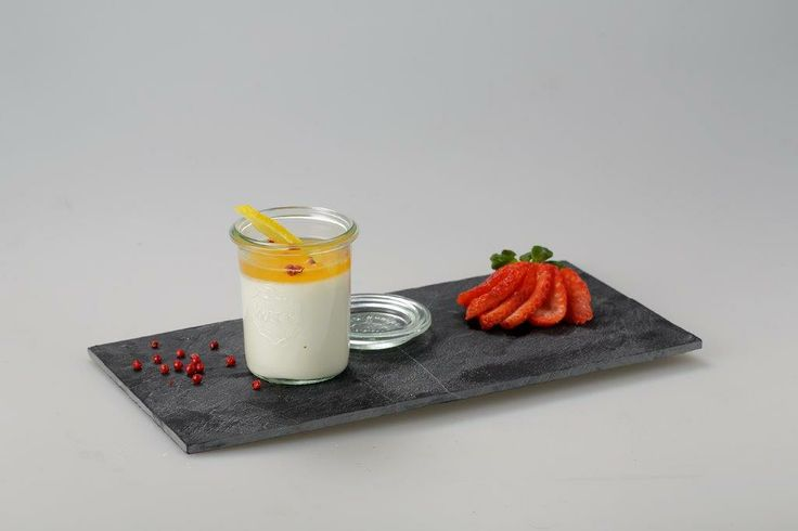Panna Cotta with Orange Honey  Dried Apple and Pink Pepper