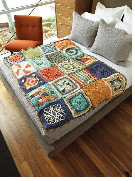 Colcha hecha con cuadrados de distintos diseños #patron : http://www.crochetme.com/content/ChainReaction.aspx