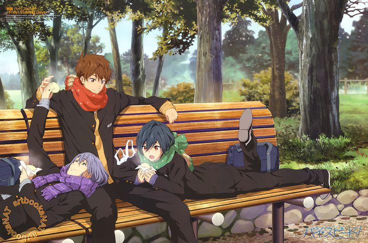 High Speed! -Free! Starting Days- Nao Serizawa and Ikuya Kirishima take comfort on Natsuya Kirishima's lap in this wintery High Speed! -Free! Starting Days- poster illustrated by key...
