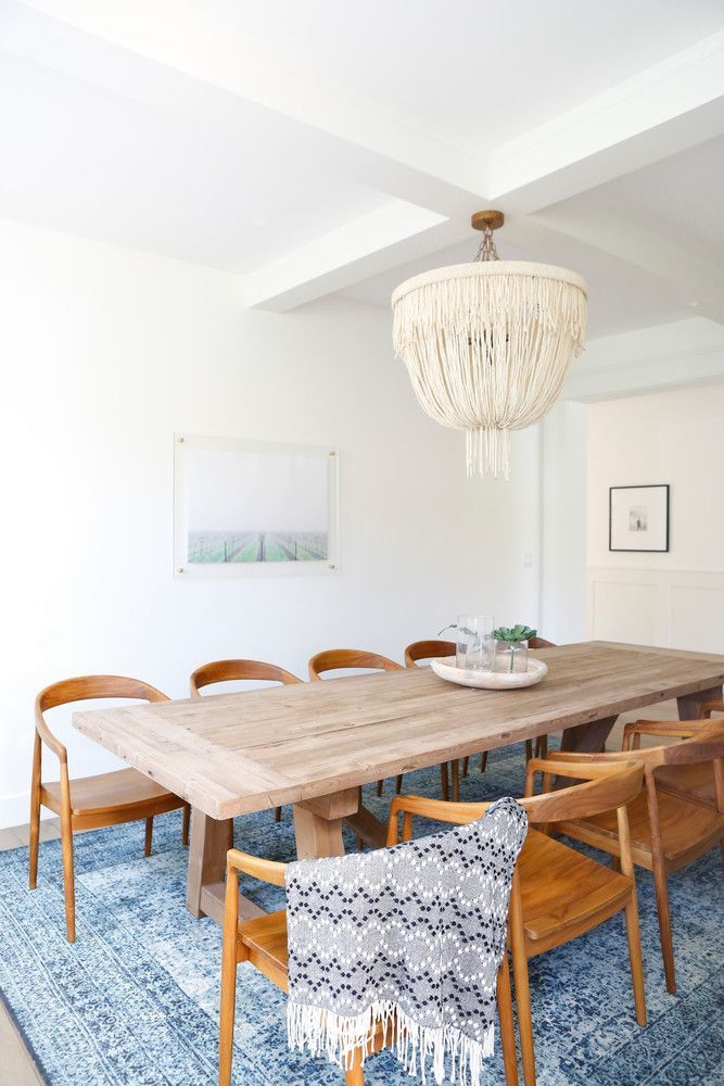 Minimalist Meets Boho Dining Room   Loved The Muted Blue Rug!
