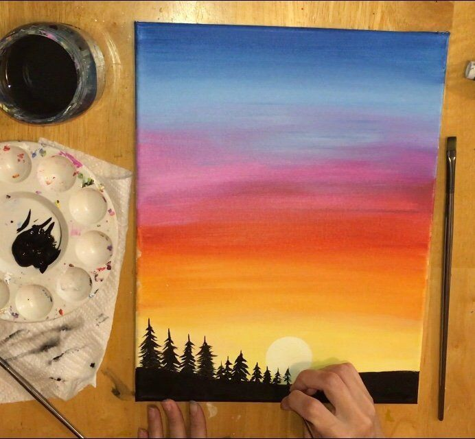 Sunset Painting Learn To Paint An Easy Sunset With Acrylics Poster Color Painting Sunset Painting Drawing Sunset