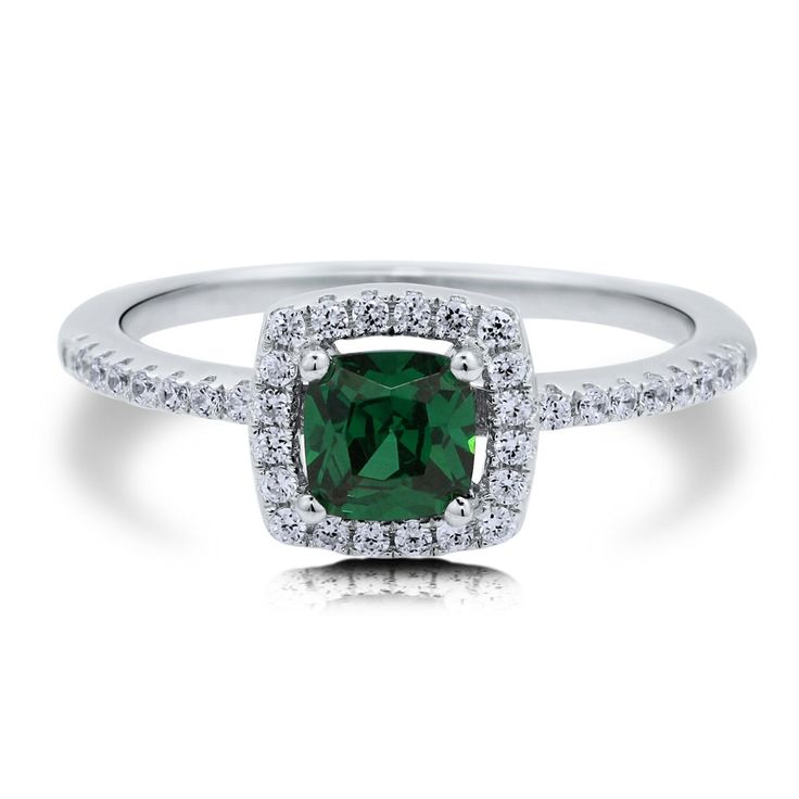BERRICLE Sterling Silver Cushion Simulated Emerald Cubic Zirconia CZ Halo Solitaire Engagement Ring