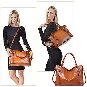 Kattee Women's Vintage Genuine Soft Leather Tote Shoulder Bag (Sorrel, Large): Handbags: Amazon.com