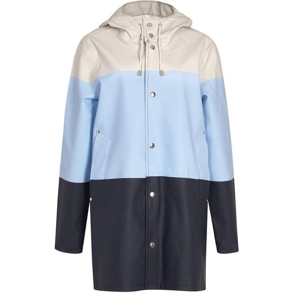 Stutterheim Stockholm striped rubberised raincoat (£255) ❤ liked on Polyvore featuring outerwear, coats, rain coat, blue raincoat, cotton coat, stripe coat and striped coat