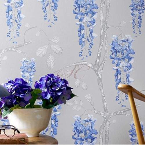 Jocelyn Warner Wallpaper Wisteria Silver Blue JWP-1501