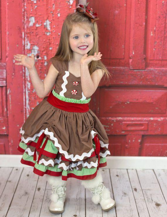 Girls Gingerbread Dress - Girls Christmas Dress - Girls Holiday Dress…