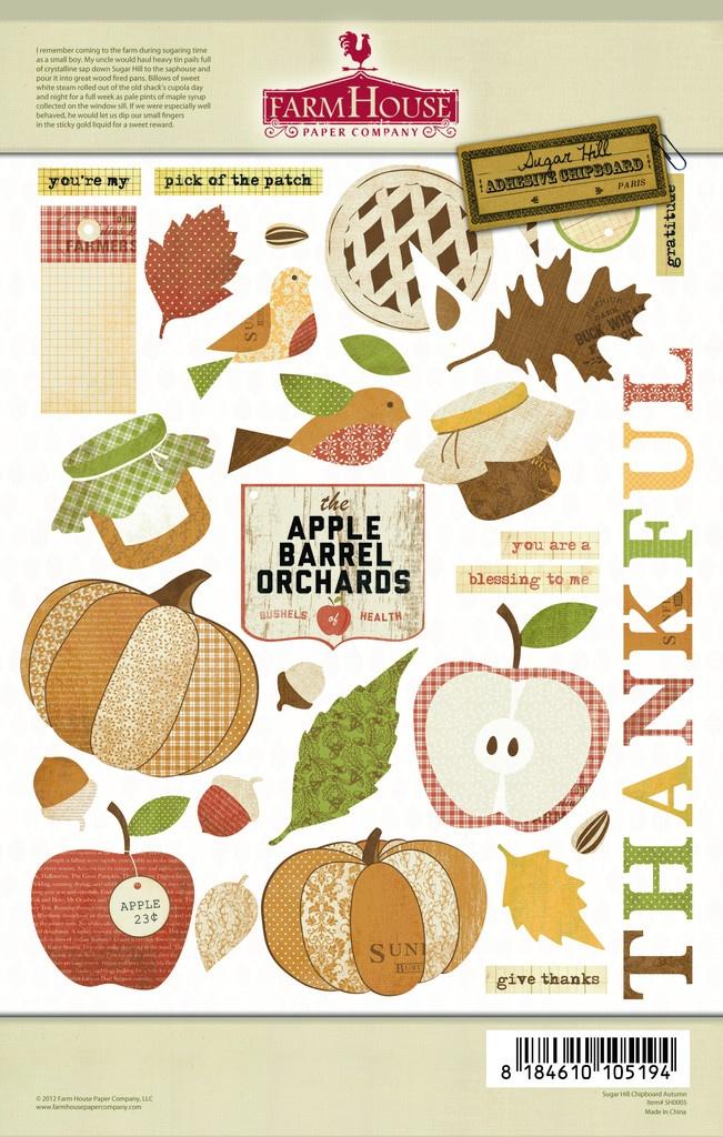 Farmhouse Paper Co - Sugar Hill Chipboard Autumn