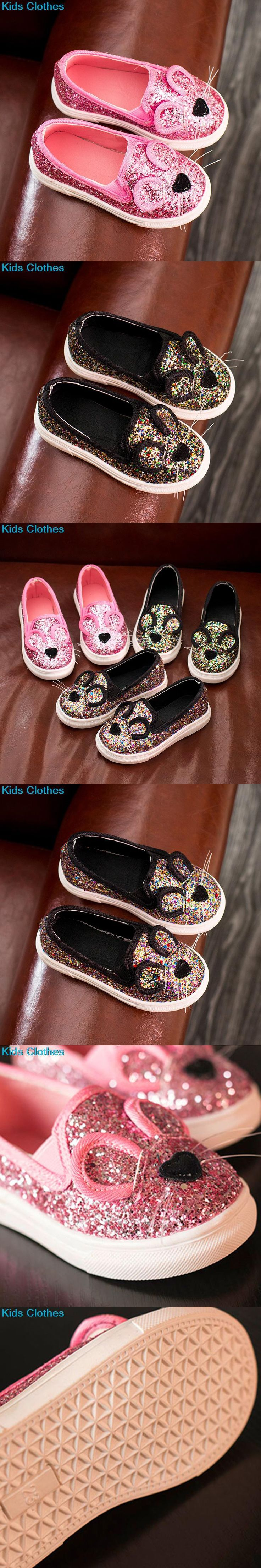 New arrive Fashion Baby Kids Sequins Cartoon Mouse Casual Shoes For Girls Chlidren Footwear size 21-30 Flats bling shoes