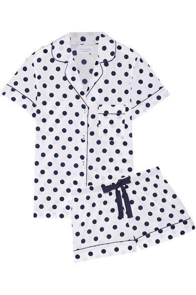 Where to buy chic summer sleepwear from @stylecaster   Three J NYC Eloise Polka-Dot Cotton-Poplin Pajama Set, $115; at Net-a-Porter