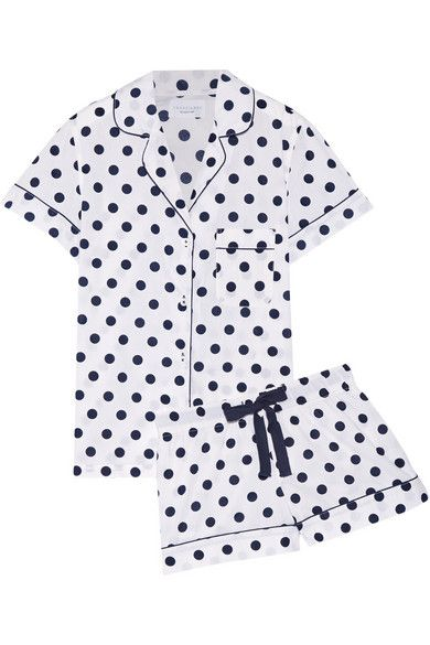 Where to buy chic summer sleepwear from @stylecaster | Three J NYC Eloise Polka-Dot Cotton-Poplin Pajama Set, $115; at Net-a-Porter