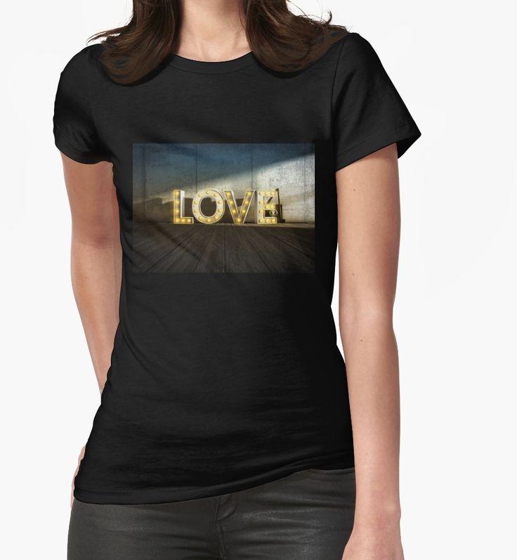 Lights Of LOVE - light bulb letters von Black Sign Artwork (Taillierte T-Shirts für Frauen)